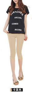 Candy-colored color leisure pants high waist pencil pants feet pants cropped Footless 1