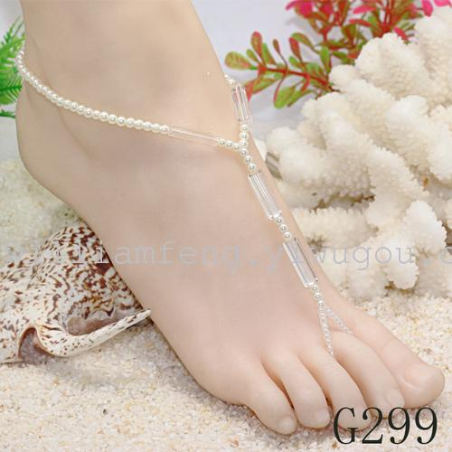 Factory outlets in Europe and America trade fashion-toed feet links handmade beaded anklets