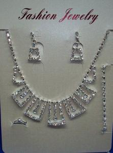 Bridal Cup chain rhinestone Earrings Necklace Bracelet ring set