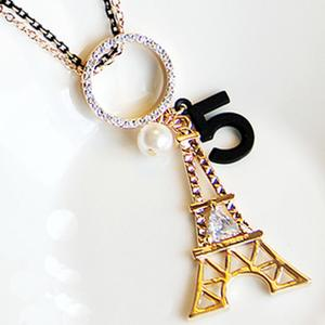 Paris Eiffel Tower pearl Long Necklace Single Zircon gift sweater chain