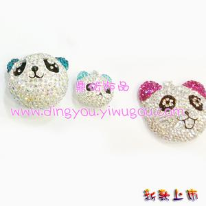 Shambhala full rhinestone Panda pendant jewelry lovers bear Keychain cell phone chain Korean cute Bracelet Necklace DIY animal cartoons