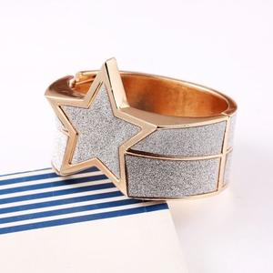 Europe exaggerated Pentagram bracelets polished metal glitter frosted Bracelet