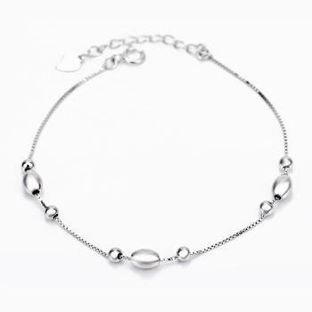 Free Shipping 1PC 8inch+3.5cm 925 Sterling Silver Anklets Lucky Bead Anklets For Women GNJL0003