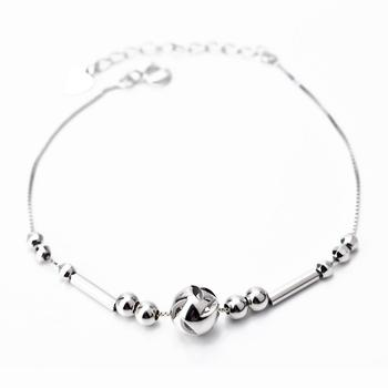 Free Shipping 1PC 8inch+3.5cm 925 Sterling Silver Anklets Fashion Jewelry Lucky Bead Anklets GNJL0002