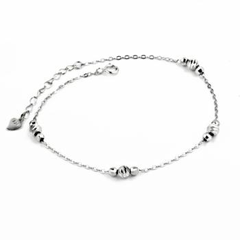 Anklet 1PC 7.5inch+1.5inch 925 Sterling Silver Anklets Fashion Jewelry Lucky Bead Anklets GNJL0009