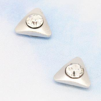 Korean style magnetic Stud magnet for men and women silver side drill triangle earrings non-pierced ear-clip