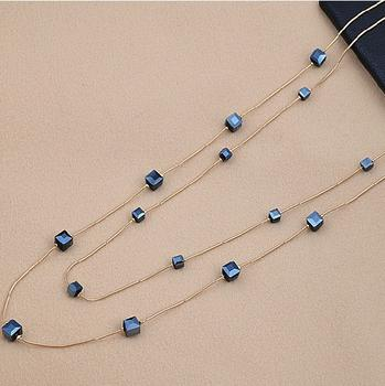 02X037 Korean version of Joker fashion jewelry pendant square Crystal multilayer sweater chain long necklace