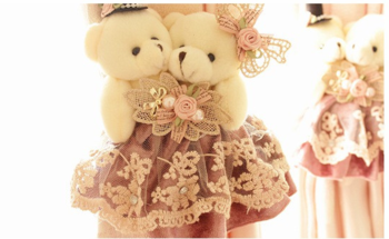 Pink classic bear curtain to curtain, Cartoon Bear straps, lace fabric curtains to marriage room