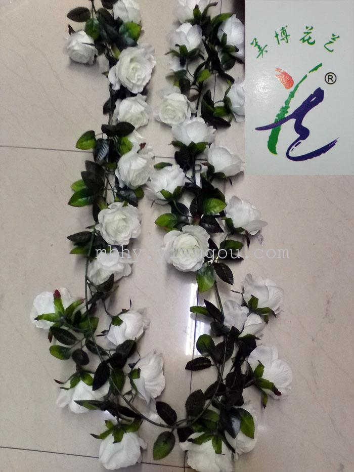 Supply simulation flower artificial flower vine leaf rattan rattan white rose vines artificial flowers materials fabric 100box multi color optional can be used for home decoration wedding decoration mightylinksfo