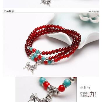 02S005 new faux Garnet three layer personality bracelet bracelets jewelry