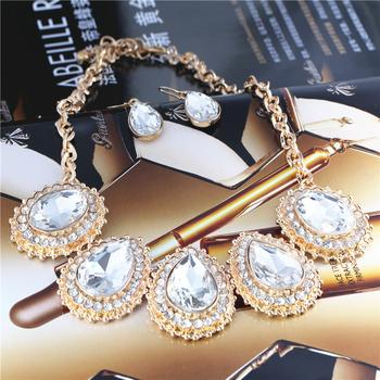 Europe and the new big temperament Flash alloy necklace earrings set decoration BE1407078