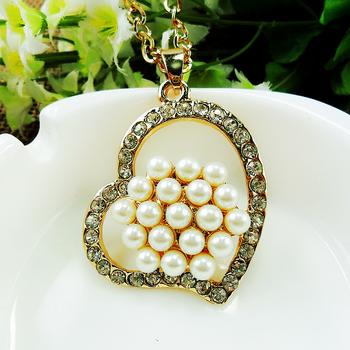 CAC2291 inlaid Pearl Heart Necklace for ladies long accessory pendant
