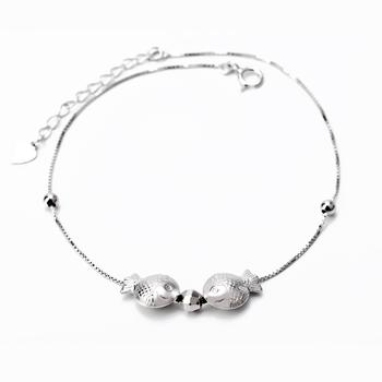 Free Shipping 1PC 8inch+3.5cm 925 Sterling Silver Anklets Fashion Jewelry Lucky Fish Anklets GNJL0004