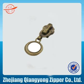 Bronze new # 5 nylon zipper head key chain type The circle piece of luggage