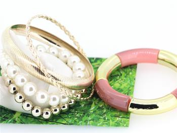 Korean character mix candy color multi-layer bangles Pearl AZ1401056