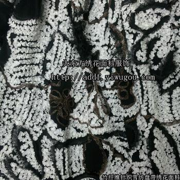Taping embroidery fabric/bamboo fiber knitted chiffon stereo ladies dress scarves embroidered linens embroidery fabric
