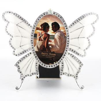 Hon Yee imports of environmentally friendly zinc alloy inlaid classic Butterfly rhinestone hand painted Home photo frame