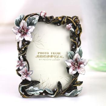 Exquisite high quality garden flower photo frames, handmade fine crafts metallic photo frame photo frame