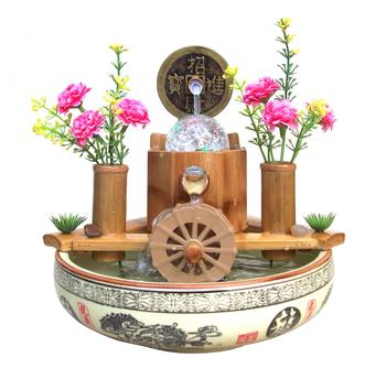 Natural bamboo water fountain Arts Creative home accessories decoration living room running water ornaments and crafts