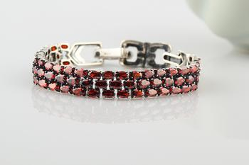 925 sterling silver Garnet bracelet Korean jewelry couples fashion silver chain silver jewelry sterling silver jewelry