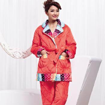 Factory direct wholesale ladies winter pajamas color dot super soft clip cotton pajamas Home Furnishing suit