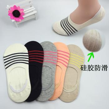 Spring/summer Lady thin cotton invisible socks of ultra low boat sock with stripe pattern socks