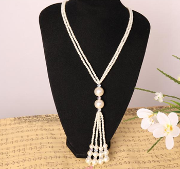 Versatile multilayer Pearl long necklace knotted Pearl Necklace fashion Korean jewelry