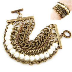 Pearl wild temperament European fashion metal chain bracelet