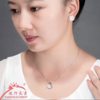 White copper plated white gold CZ Pendant Necklace Bracelet accessories Japan-Korea clavicle chain accessories