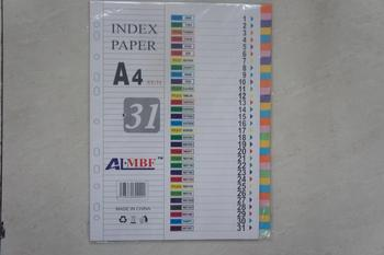 A4PP colored index paper 31 colors page paper plastic isolation sheet