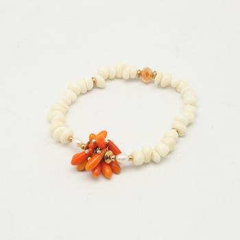 Natural coral mixed color colorful coral shell bracelet hand chain Pearl Crystal bracelet