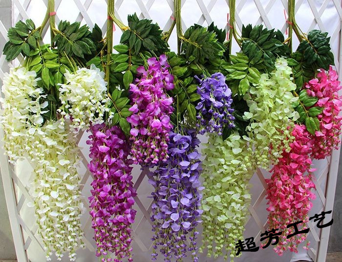 Factory Direct Simulation Of Artificial Flower Spider Plant Flowers Wisteria Tree Fence