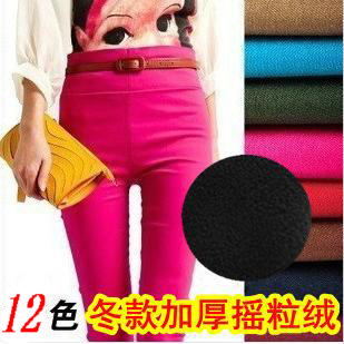 New Korean version in autumn and winter plus wool thick Candy-colored pencil pants feet pants plus size slim casual boots pants
