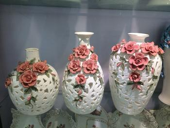 Hollow ceramic vase decoration porcelain crafts